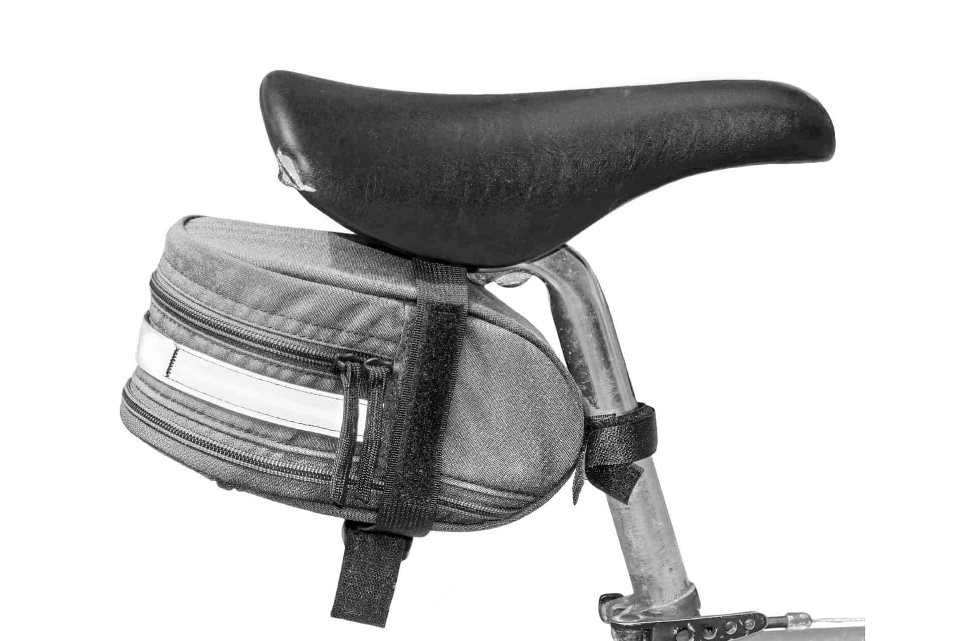 Photo showing a saddle bag on the seat post of a road bike.