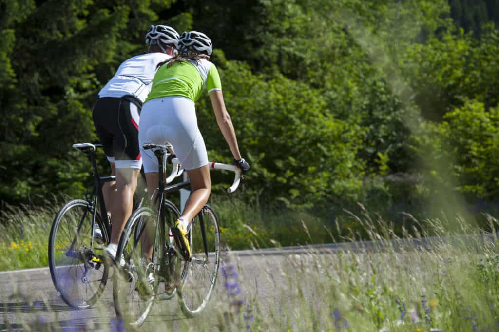 Women on road bikes in countryside best saddle