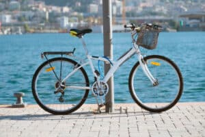 Image of bike locked without a rack
