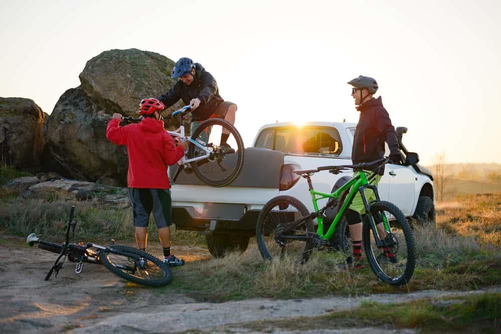 Best bike truck rack being unloaded in desert
